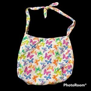 Gorgeous rainbow butterfly hobo shoulder purse